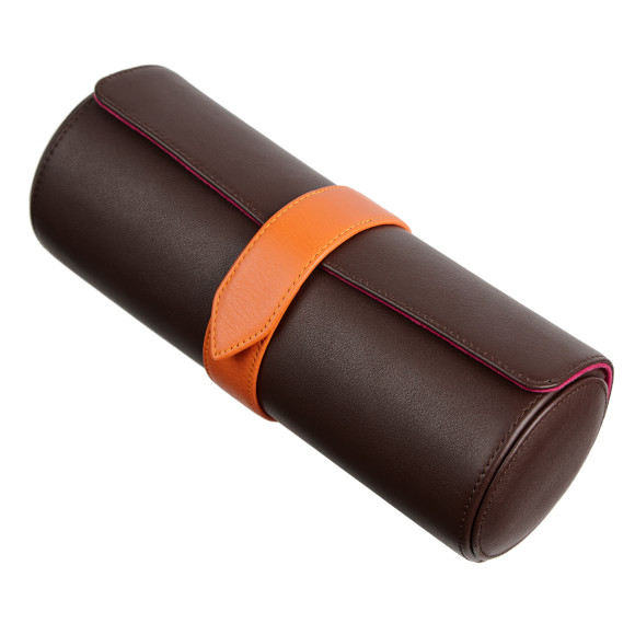 Dark Brown/Hot Pink Watch Roll