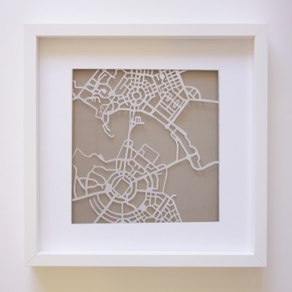 Canberra Paper Art Map with optional Australian-made white timber frame