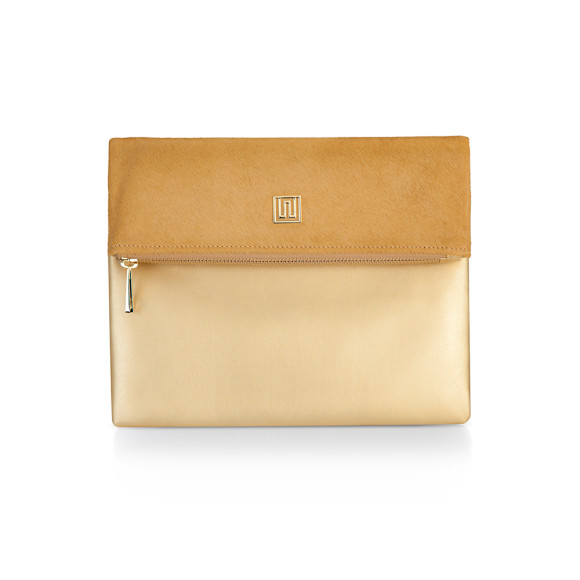100% Nappa Leather Cowhide & Calf hair Clutch