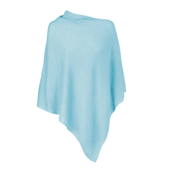 Baby Blue 100% Cashmere Poncho