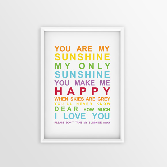 You are My Sunshine Bus Roll Print with optional white timber frame, in Rainbow