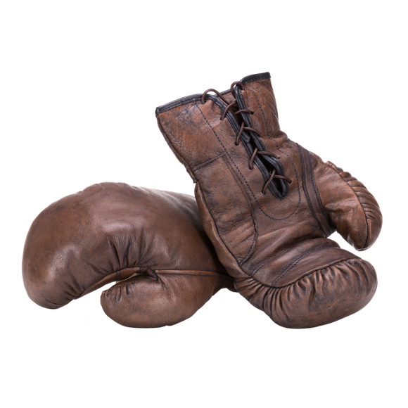 dark brown vintage style leather boxing gloves
