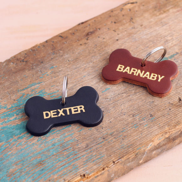 Personalised Leather Dog Name Tag featuring our gold foil finish