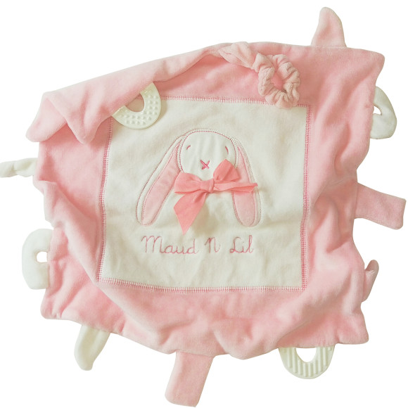 Pink Ears & Rose Bunny Baby Gift Play Blankie