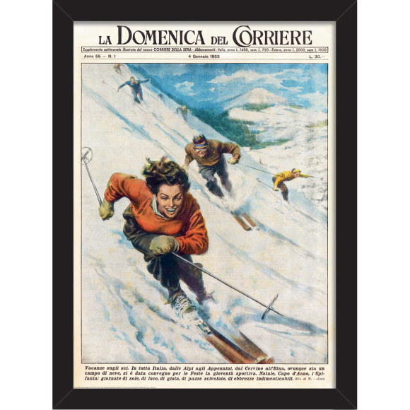 Vintage Snow Ski: Framed