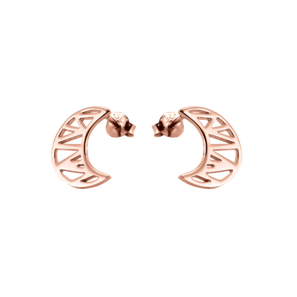cosmic moon stud earrings rose gold