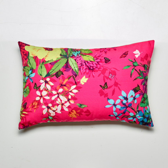 Tropicana cushion in fuchsia