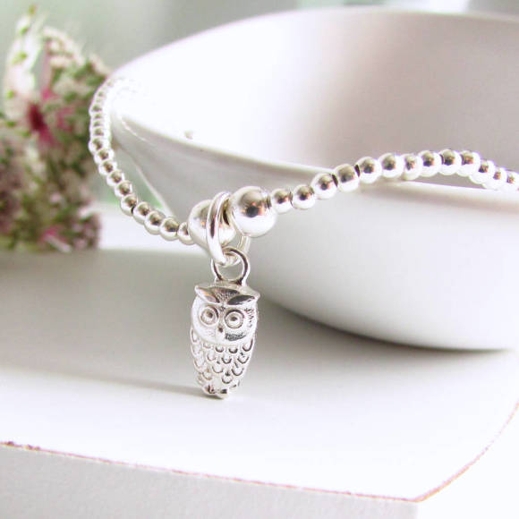 Sterling silver beaded owl bracelet