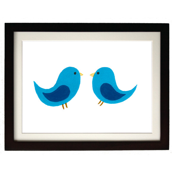 Twin blue birds mocha frame