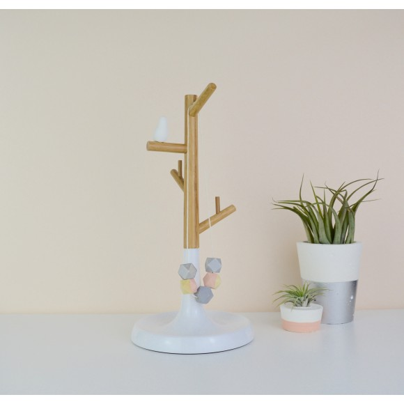 Personalised Wood And White Bird Jewellery Stand Hardtofind