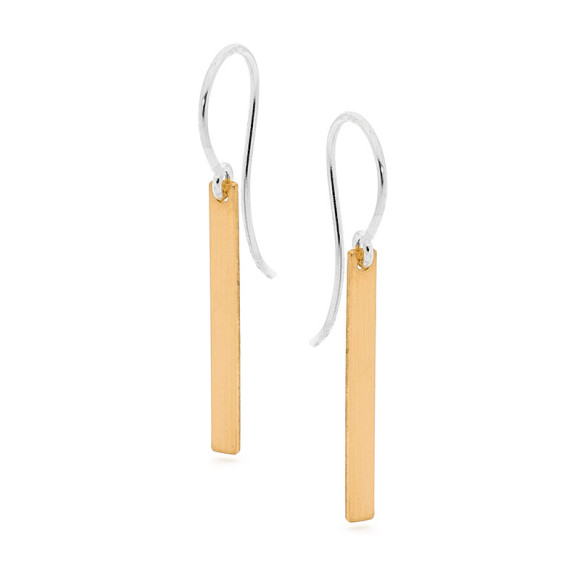 Sterling silver and gold bar earring
