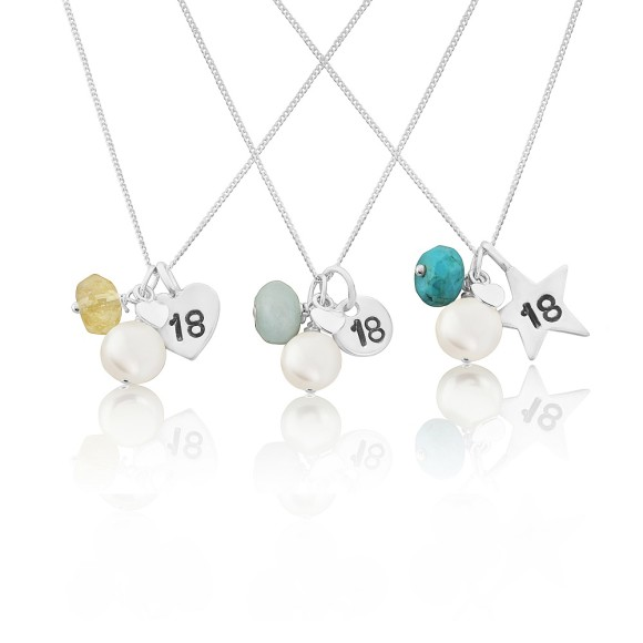 personalised sterling silver and gemstone birthstone 18th birthday necklaces