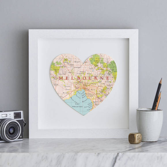 Melbourne map heart print hardtofind melbourne map heart white frame gumiabroncs Gallery
