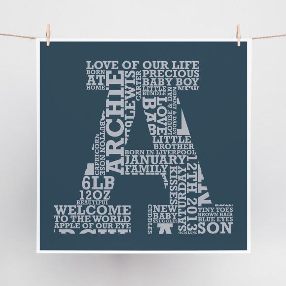 Slab Letter word art print
