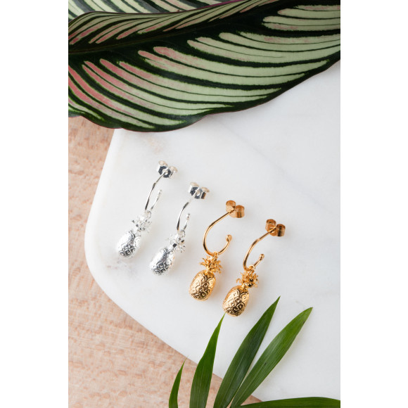 Amanda Coleman pineapple drop earrings 925 sterling silver & 22ct gold vermeil