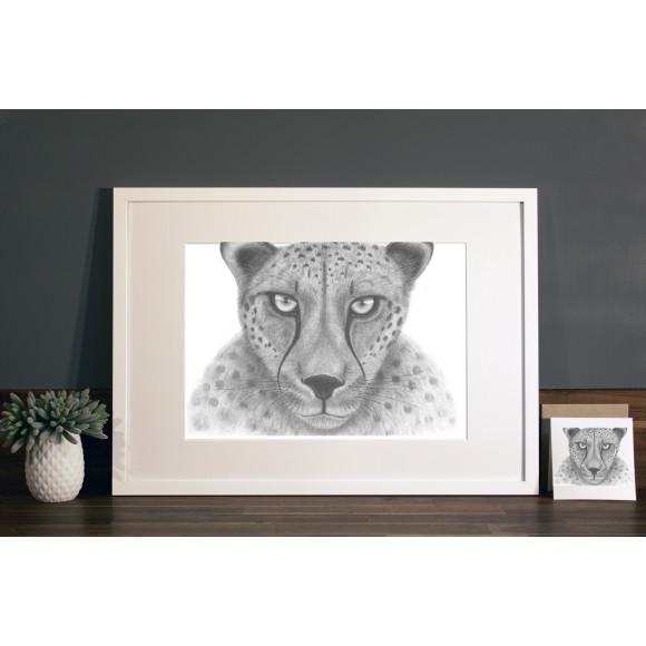 Cheetah print A3 white frame