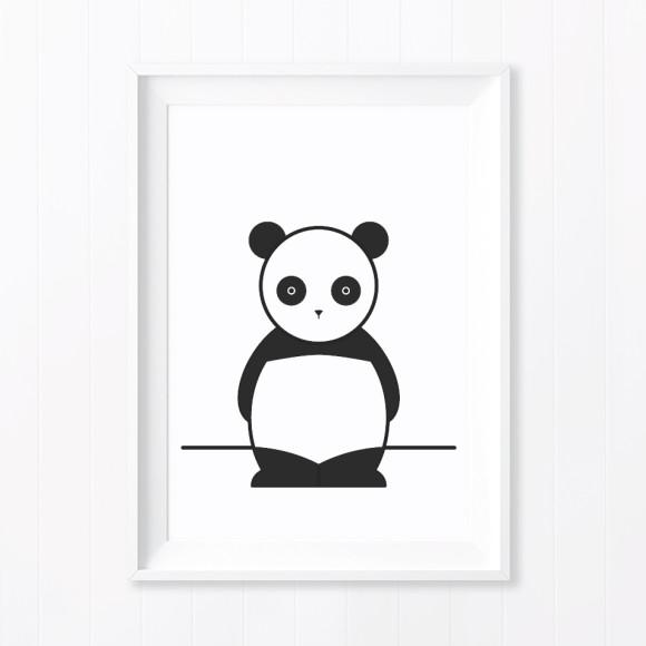 Ping Panda Monochrome Nursery Art Print