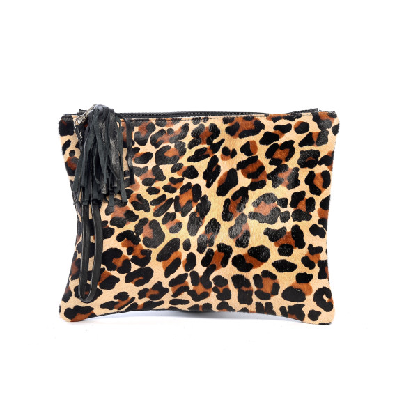 MOOI Jem Clutch in Leopard Calf-Hair/Black Leather Clutch