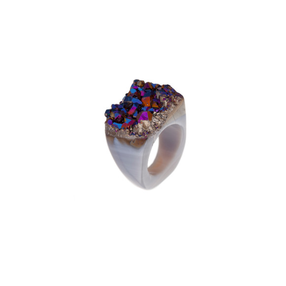Rainbow Metallic Carved Ring