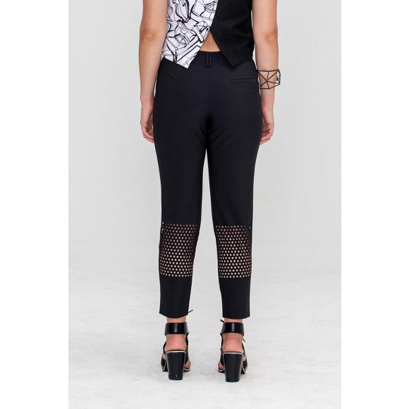 Black laser cut pants