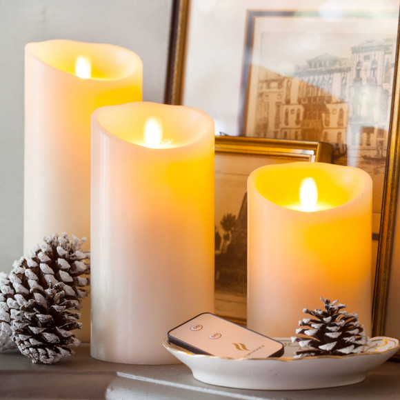 Luminara flameless candles Ivory