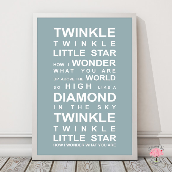 Twinkle Twinkle Print in Duck Egg, with optional Australian-made white timber frame