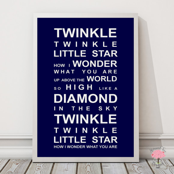 Twinkle Twinkle Print in Navy, with optional Australian-made white timber frame