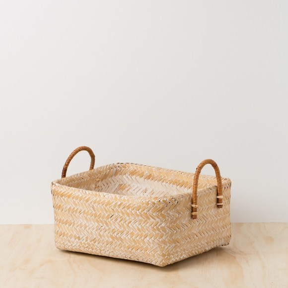 Bamboo Basket -Double Layer White-washed with Rattan Handle - Large