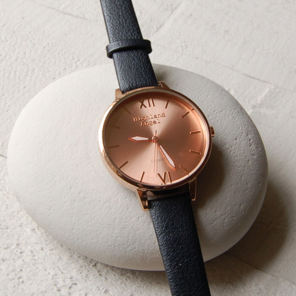 Black Strap, Rose Gold Face, Rose Gold Case