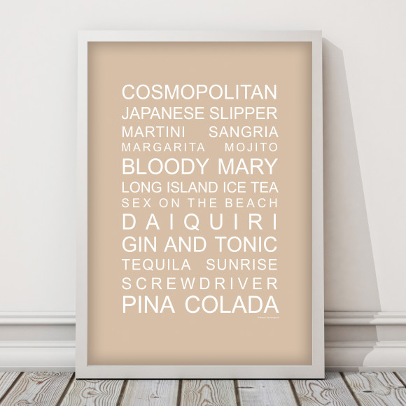 The perfect party list cocktail print in Latte, with optional Australian-made white timber frame