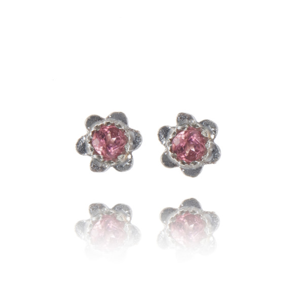 forget-me-not studs silver and pink tourmaline