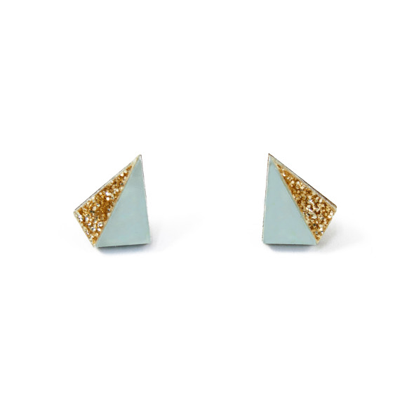 Little Pyramid Studs - Pale Blue / Gold Glitter