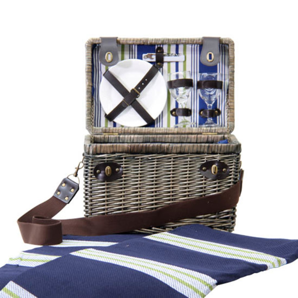 picnic blanket with basket