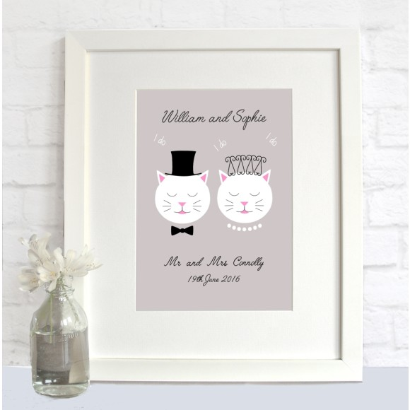 Personalised Frida cats wedding print