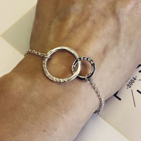 Personalised Link Bracelet shown worn here in silver