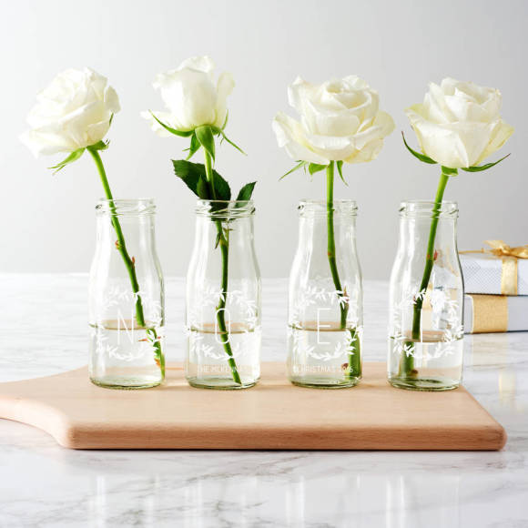 Personalised Noel Bottle Bud Vases