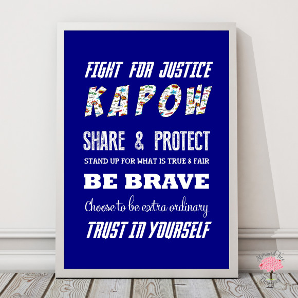 Superhero rules print with optional Australian-made white timber frame