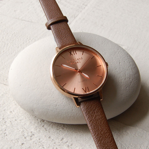 Brown Strap, Rose Gold Face, Rose Gold Case