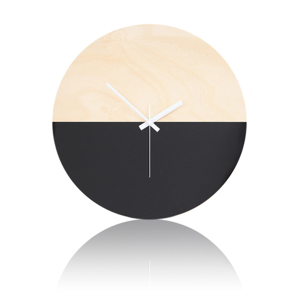 Half moon wall clock in black - 40cm