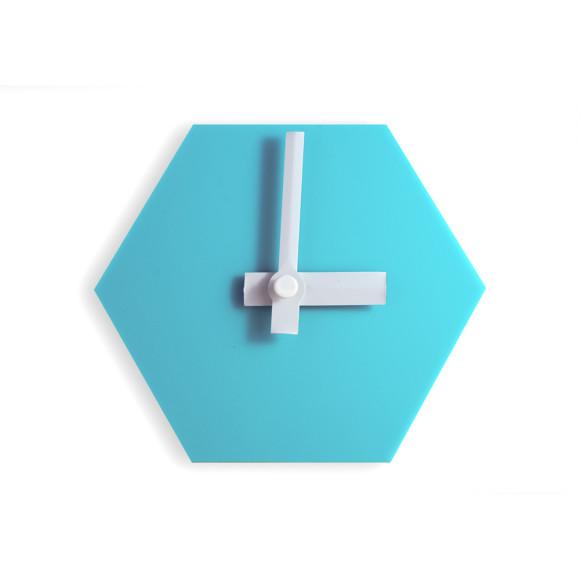 Aqua blue desk clock with white hands