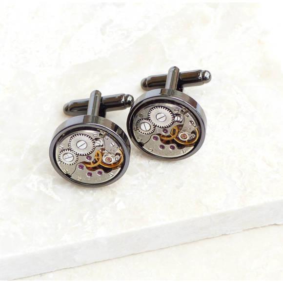 Personalised Vintage Watch Movement Gunmetal Cufflinks