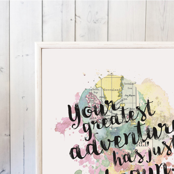 Your Greatest Adventure Has Just Begun Quote Framed Mini