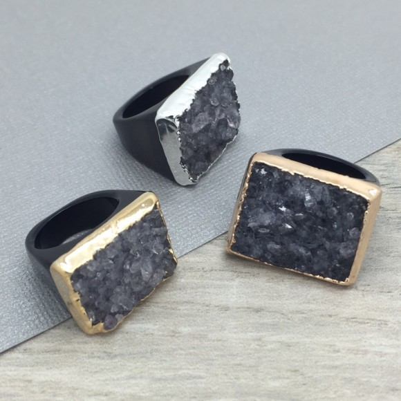 Black Hand Carved Druzy Ring