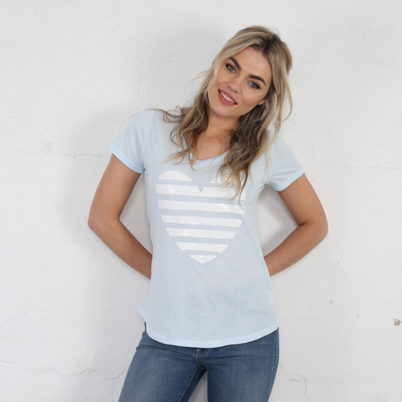 Blue and White Fine Stripe Tee