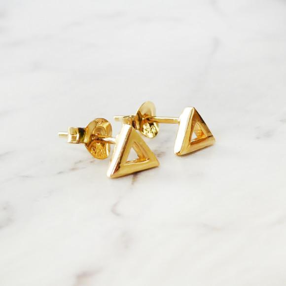 triangle stud earrings gold