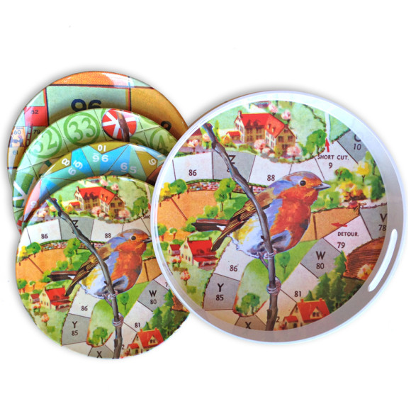 Robin tray & Bird games plate set