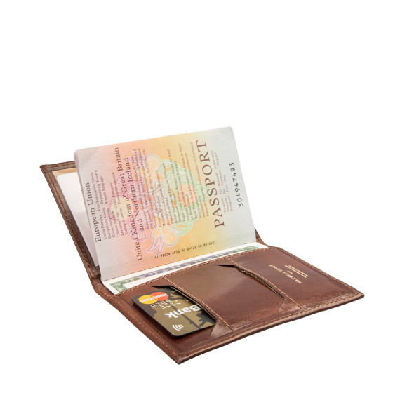 chestnut brown leather passport holder