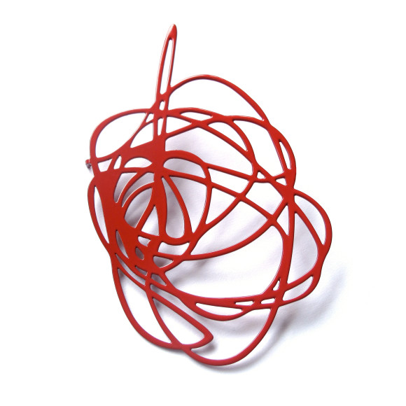 Scribble Brooch-Claret