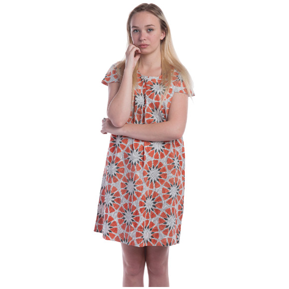 Poplin summer dress in orange