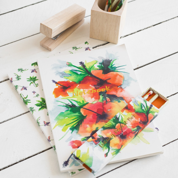 Team our gorgeous A4 Tropical Hibiscus notebook with the matching pencil set to complete the look.